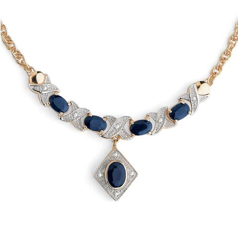 "Yellow Gold over Sterling Silver ""X & O"" Necklace Blue Sapphires, 16"""