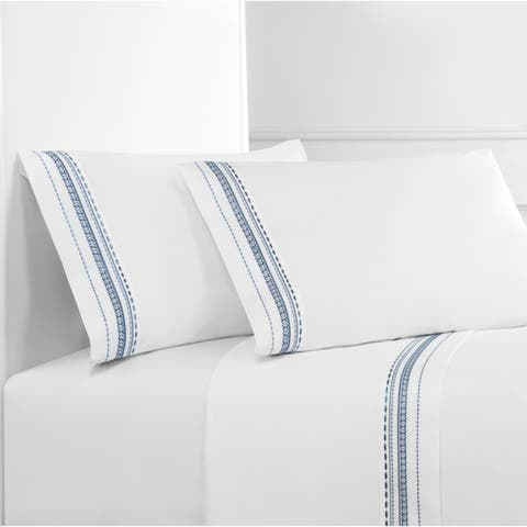 Embroidered Crisp Percale Cotton Winney Sheet Set
