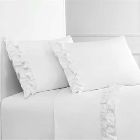 Ruffle Crisp Percale Cotton Twice Sheet Set