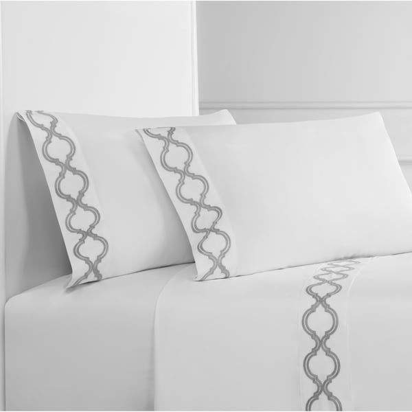 Embroidered Crisp Percale Cotton Lattice Sheet Set