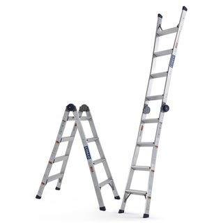 COSCO Silver 2 in 1 Multi Position Step and Extension Ladder - 8 to 12 ft Reach