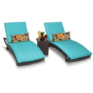 TK Classics Barbados Curved Chaise Outdoor Furniture with Side Table (Set of 3)
