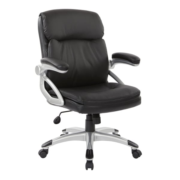 Excutive Low Back Black Bonded Leather Chair with Silver Accents