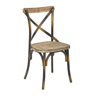 OSP Home Furnishings Somerset X-Back Antique Copper Metal Chair with Hardwood Vintage Walnut seat Finish