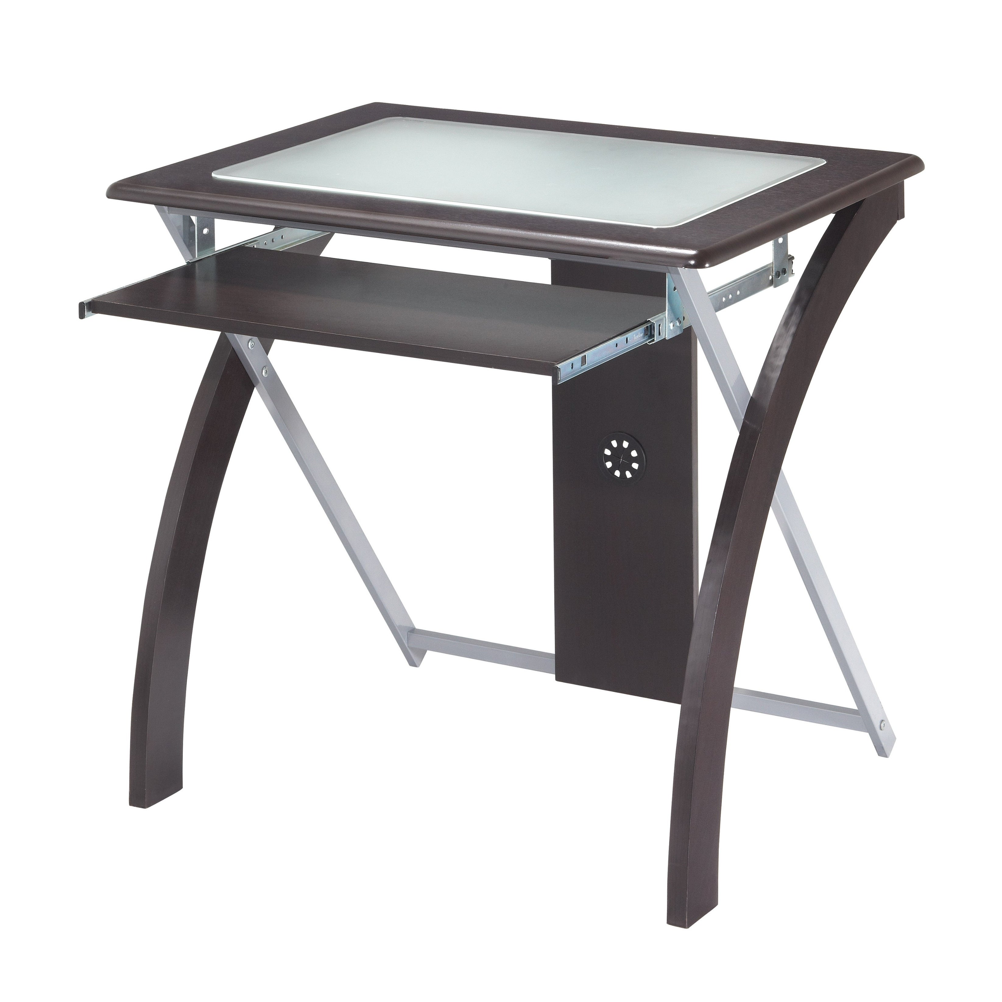 Osp Home Furnishings X Text Computer Desk With Frosted Glass Overstock 23592304