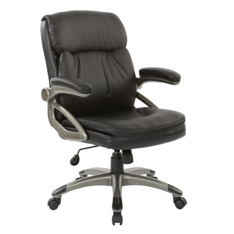 Executive Low Back Black Bonded Leather Chair with Titanium Accents