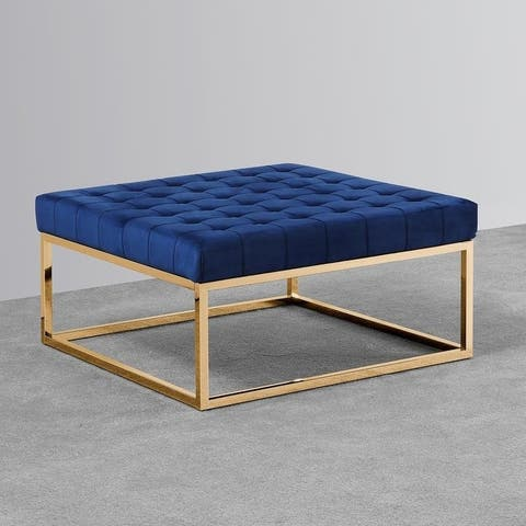 Best Master Furniture Navy Blue/ Gold Ottoman Coffee Table