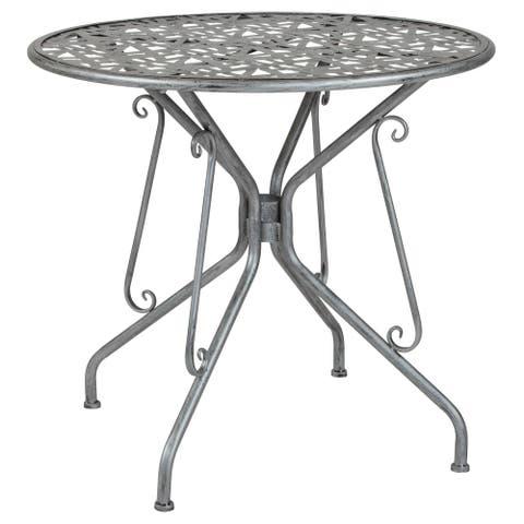 "31.5"" Round Antique Silver Lattice Style Indoor-Outdoor Steel Patio Table"