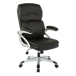 Executive Manager's High-Back Bonded Leather Chair with Silver Accents