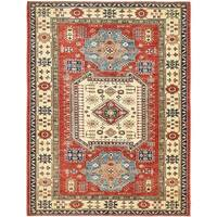 Hand Knotted Kazak Wool Area Rug - 5' 8 x 7' 5