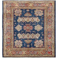 Hand Knotted Kazak Wool Square Rug - 5' x 5' 2