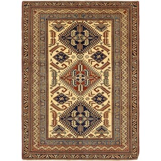 Hand Knotted Kazak Wool Area Rug - 4' 2 x 5' 9