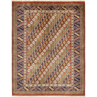 Hand Knotted Kazak Wool Area Rug - 4' 8 x 6'