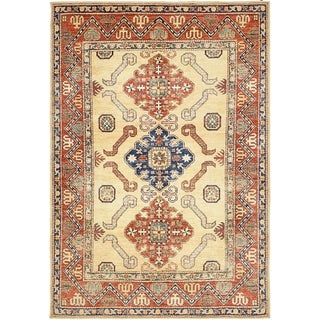 Hand Knotted Kazak Wool Area Rug - 4' 10 x 7' 2