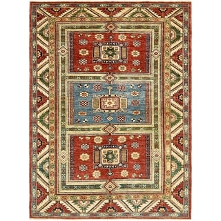 Hand Knotted Kazak Wool Area Rug - 4' 10 x 6' 6