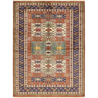 Hand Knotted Kazak Wool Area Rug - 4' 7 x 6' 2