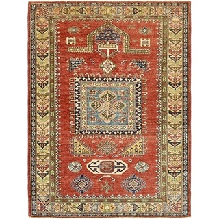 Hand Knotted Kazak Wool Area Rug - 4' 10 x 6' 7