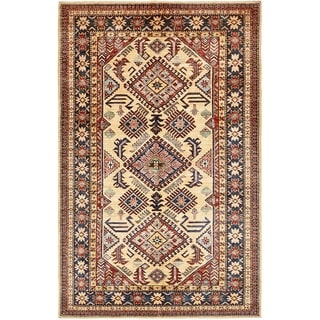 Hand Knotted Kazak Wool Area Rug - 4' 2 x 6' 7