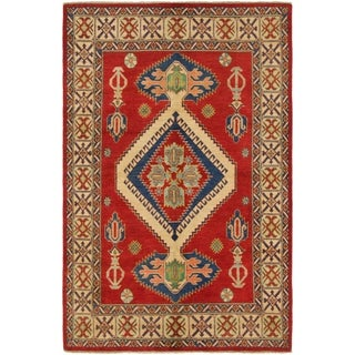 Hand Knotted Kazak Wool Area Rug - 5' 9 x 9' 3