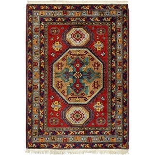 Hand Knotted Kazak Wool Area Rug - 4' 10 x 7'