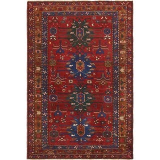 Hand Knotted Kazak Semi Antique Wool Area Rug - 5' 7 x 8' 7
