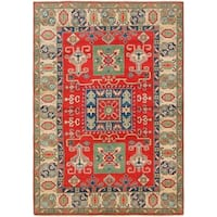 Hand Knotted Kazak Wool Area Rug - 5' 7 x 8'