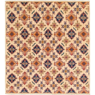 Hand Knotted Kazak Wool Area Rug - 6' 9 x 8' 7