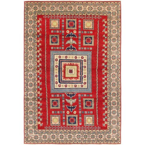 Hand Knotted Kazak Wool Area Rug - 6' 2 x 9'