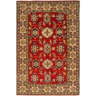 Hand Knotted Kazak Wool Area Rug - 3' 2 x 4' 9