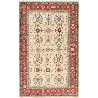 Hand Knotted Kazak Wool Area Rug - 3' 3 x 5' 5
