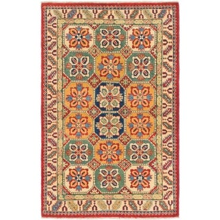 Hand Knotted Kazak Wool Area Rug - 3' 2 x 5'