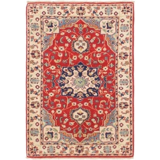Hand Knotted Kazak Wool Area Rug - 2' 7 x 3' 9