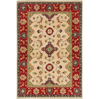 Hand Knotted Kazak Wool Area Rug - 4' 2 x 6'
