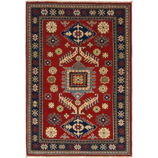 Hand Knotted Kazak Wool Area Rug - 3' 5 x 4' 10