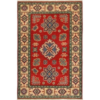 Hand Knotted Kazak Wool Area Rug - 3' 4 x 5'