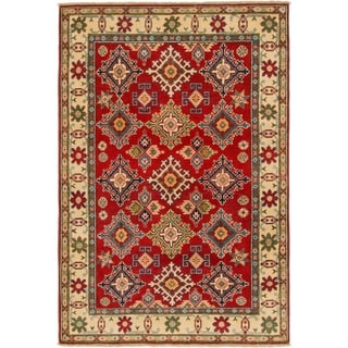 Hand Knotted Kazak Wool Area Rug - 4' x 5' 9