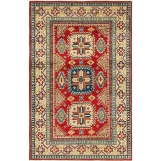 Hand Knotted Kazak Wool Area Rug - 3' 9 x 5' 10