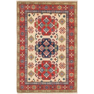 Hand Knotted Kazak Wool Area Rug - 4' x 6' 2