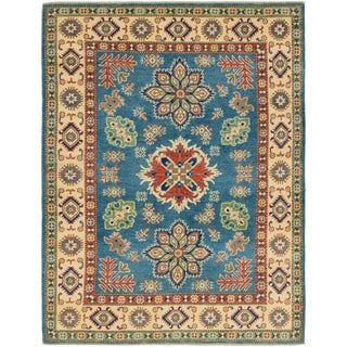 Hand Knotted Kazak Wool Square Rug - 5' 2 x 6' 8
