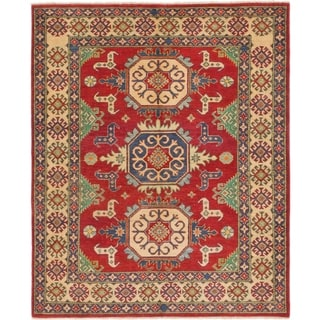 Hand Knotted Kazak Wool Area Rug - 5' 9 x 7'