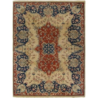 Hand Knotted Kerman Semi Antique Wool Area Rug - 6' 7 x 8' 10