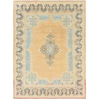 Hand Knotted Kerman Semi Antique Wool Area Rug - 9' 7 x 13' 2