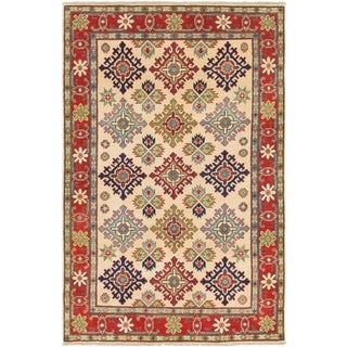Hand Knotted Kazak Wool Area Rug - 4' x 6'