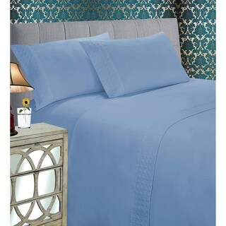 Elegant Comfort Luxurious Soft & Coziest 4-Piece Quilted Bed Sheet Set on Flat Sheet and Pillowcases