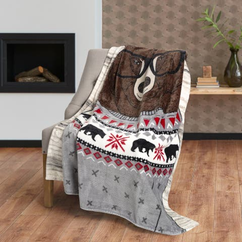 Throw Flannel Printed Ribbed 50x60 Bear Ultra Soft