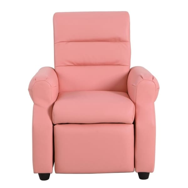 HomePop Kids Recliner in Pink Faux Leather. Opens flyout.
