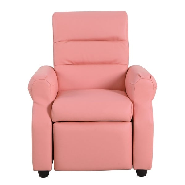 HomePop Kids Recliner in Pink Faux Leather