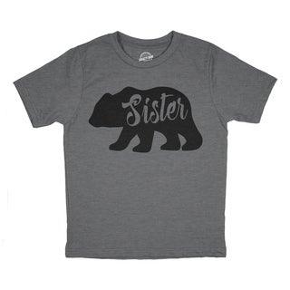 Youth Sister Bear Tshirt Cute Funny Family Tee For Little Sister
