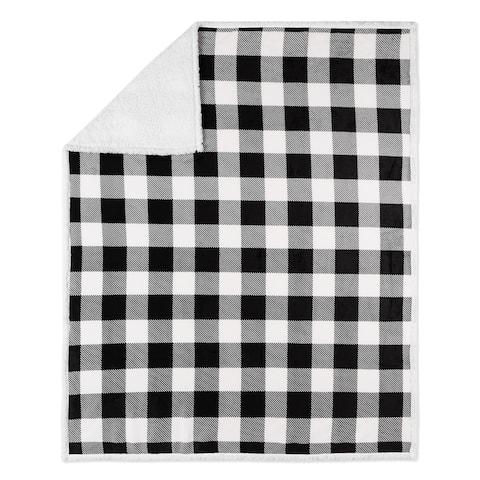Throw 50x60 Buffalo Plaid White And Black Ultra Soft - Multi-color