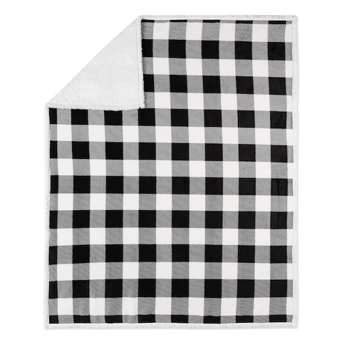 Throw 50x60 Buffalo Plaid White and Black Ultra Soft